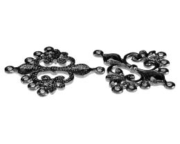 2 Chandelier Earrings Gunmetal Fleur De Lis 36mm