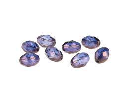 5 Czech Glass Beads Purple Lustre Ovals 11mm