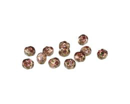 10 Czech Glass Beads Golden Travertine Faceted 6mm