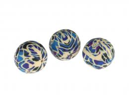 1 Handmade Polymer Clay Beads Purple Blue Patchwork