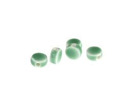 10 Porcelain Beads Turquoise Green Ceramic Coin 9mm