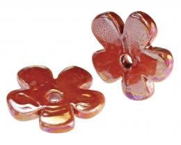 1 Pendants Ceramic Red Flowers Lustre Glaze 36mm
