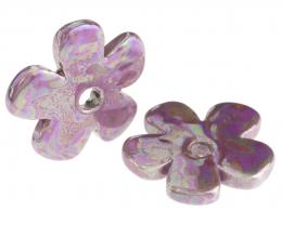 1 Ceramic Flower Pendants Mauve Lustre Glaze 36mm