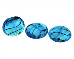 1 Glass Beads Silver Foil Aqua Blue Rounds 20mm