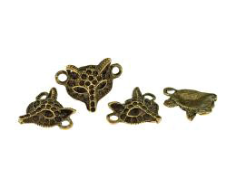 1 Connector Charms Bronze Fox Head 20mm