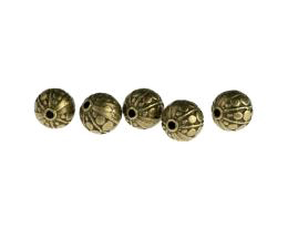 5 Metal Beads Bronze Round Cast Bead 10mm