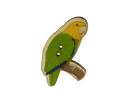 1 Buttons Wood Yellow Parrot Bird Button Bead 40mm