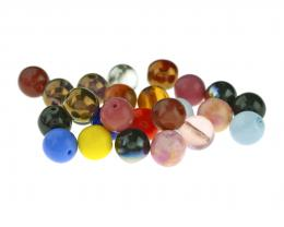 25 Czech Glass Beads Assorted Colour Mix Druk 8mm