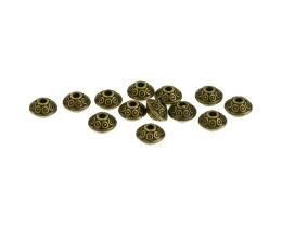 10 Metal Beads Bronze Textured Rondelle Bead 4mm
