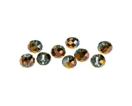10 Crystal Beads Grey Copper Glass Rondelles 7.6mm