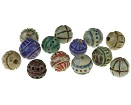 1 Handmade Ceramic Beads Muted Carved Mixed Beads