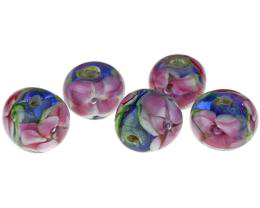 5 Handmade Lampwork Glass Beads Rose Garden