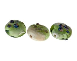 3 Handmade Lampwork Glass Beads Sandy Shores 18mm