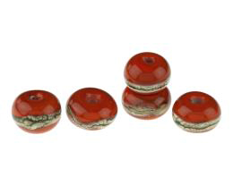 5 Handmade Lampwork Glass Beads Vermillion Brights