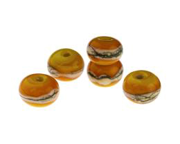 5 Handmade Lampwork Glass Beads Spring Yellows