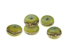 5 Handmade Lampwork Glass Beads Silver Greens