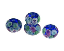 4 Handmade Lampwork Glass Beads Blue Hidden Jewels