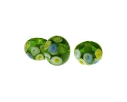 3 Handmade Lampwork Glass Beads Green Hidden Jewel