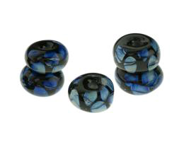 5 Handmade Lampwork Glass Beads Black Triton