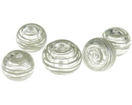 5 Handmade Lampwork Beads Hollow Pale Grey 20mm