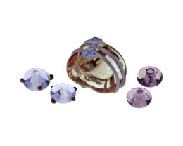 5 Handmade Lampwork Beads Larkspur Focal 17mm