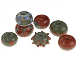 7 Handmade Lampwork Beads Roof Tile Doughnuts 14mm