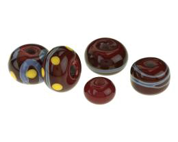 5 Handmade Lampwork Beads Dark Red Doughnuts 12mm