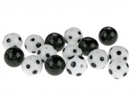 15 Handmade Lampwork Glass Beads Monochrome 12mm
