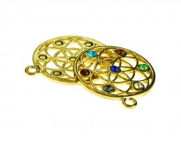 1 Gold Plated Metal Filigree Round Pendants 35mm