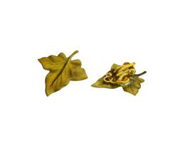 2 Vintage Clip On Earring Findings Brass Leaf 27mm