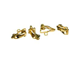 2 Vintage Clip On Earring Gold Plated Shell 17mm