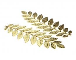 1 Gold Plated Brass Leaf Embellishment 89mm
