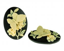 1 Cameos Acrylic Black Ivory Butterflies 40mm