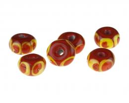 6 Handmade Lampwork Glass Beads Coral Brights 14mm