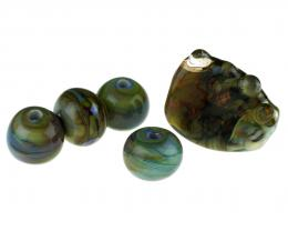5 Handmade Lampwork Glass Beads Mixed Skies 30mm