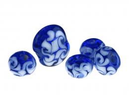 5 Handmade Lampwork Glass Beads Celtic Swirl 19mm