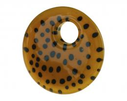 1 Glass Pendants Animal Print Leopard Disc 50mm